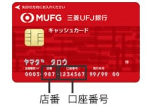 三菱UFJ銀行の口座番号や店番